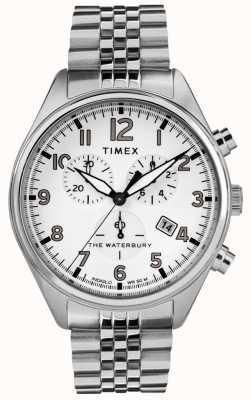 Timex Mens waterbury tradicional pulseira de aço branco crono TW2R88500