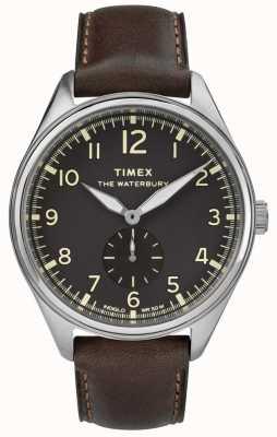 Timex Mens waterbury tradicional preto couro marrom subdial TW2R88800