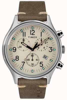 Timex Mens mk1 sst chrono 42 milímetros caso pulseira de couro marrom TW2R96400