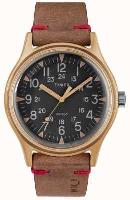 Timex Mens mk1 sst chrono 40 milímetros caso de bronze mostrador preto pulseira marrom TW2R96700