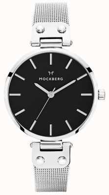 Mockberg Elise noir malha de aço inoxidável das mulheres MO1604