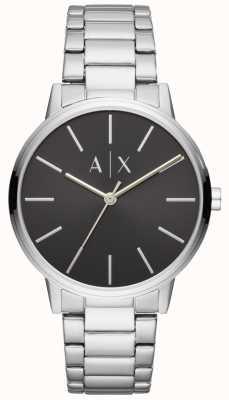 Armani Exchange Relógio de aço inoxidável para homem com mostrador preto AX2700
