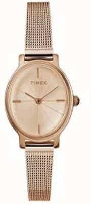 Timex Senhoras milano oval rosa ouro relógio de malha TW2R94300D7PF