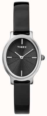 Timex Senhoras milano oval prata malha relógio preto dial TW2R94500D7PF