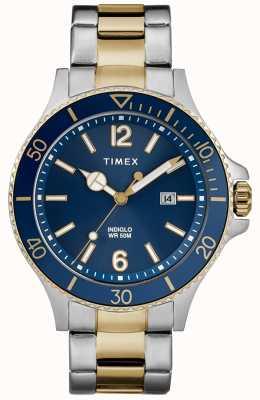Timex Homens harbourside dois tons de prata e pulseira de ouro mostrador azul TW2R64700D7PF