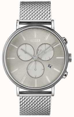 Timex Relógio de malha de prata de cronógrafo supernova Fairfield TW2R97900D7PF