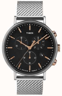 Timex Mostrador Fairfield cronógrafo prata malha preta TW2T11400D7PF