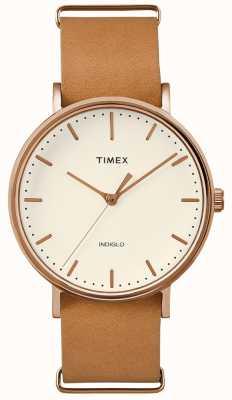 Timex Relógio de mão marrom com pulseira Fairfield 3 TWF3C8160UK