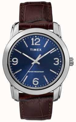 Timex Couro marrom pulseira de crocodilo dos homens mostrador azul TW2R86800
