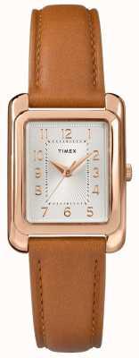 Timex Dial de tom de prata de couro tan feminino cinta TW2R89500D7PF