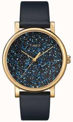 Timex Relógio de couro azul feminino com cristais swarovski TW2R98100D7PF