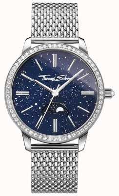 Thomas Sabo Relógio feminino glam and soul moonphase pulseira de malha de prata WA0326-201-209-33