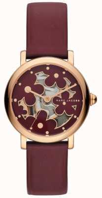 Marc Jacobs Couro de burghundy de relógio clássico marc jacobs das mulheres MJ1629