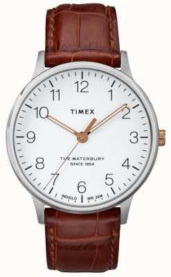 Timex Mens o waterbury clássico mostrador branco com mãos de ouro rosa TW2R95900