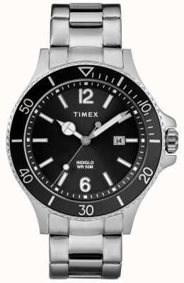 Timex Mens harbourside pulseira de aço inoxidável mostrador preto TW2R64600