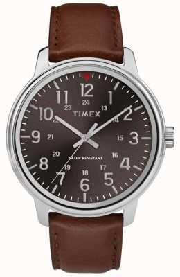 Timex Mens clássico couro marrom preto dial TW2R85700