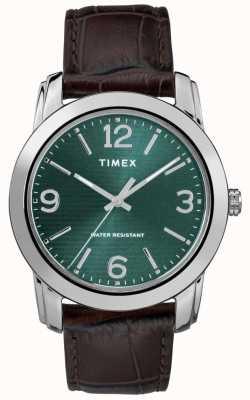 Timex Mens pulseira de couro marrom clássico croc pulseira verde TW2R86900