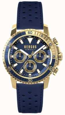 Versus Versace Mens aberdeen pulseira de couro azul mostrador azul S30020017
