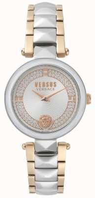 Versus Versace Jardim covent das mulheres dois tom relógio de cristal SPCD250017