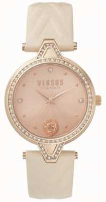 Versus Versace Womens v contra stone set rosa pulseira de couro rosa mostrador de ouro SPCI330017