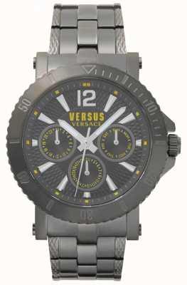 Versus Versace Mens steenberg cinza mostrador cinza pulseira de aço inoxidável SP52050018