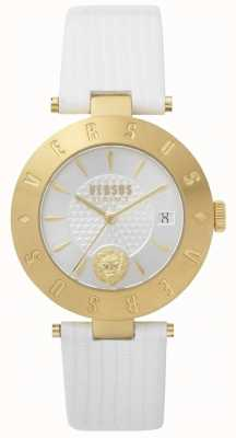 Versus Versace Womens logo white dial pulseira de couro branco SP77210018
