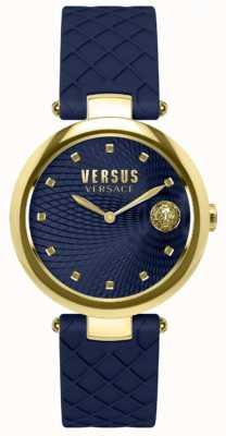 Versus Versace Womens buffle bay azul mostrador pulseira de couro azul SP87030018