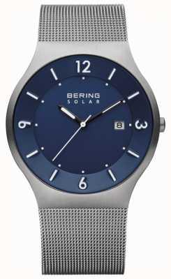 Bering Correia de malha de aço inoxidável cinza Mens solar blue dial 14440-007