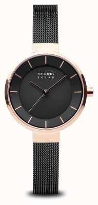 Bering Solar, mostrador solar, caixa em ouro rosa, pulseira de malha preta 14631-166