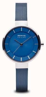 Bering Womens solar, mostrador sunray, estojo prateado, bracelete em malha azul 14631-307