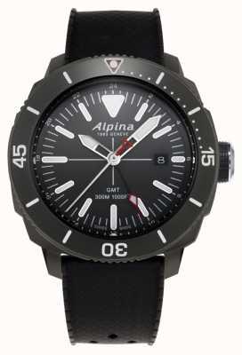 Alpina Mens seastrong diver gmt pulseira de borracha preta AL-247LGG4TV6