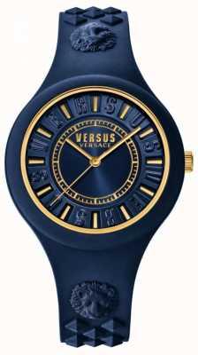 Versus Versace Correia de silicone azul ilha de fogo azul discagem SOQ090016