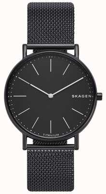 Skagen Mens signatur pulseira de malha preta de aço inoxidável mostrador preto SKW6484