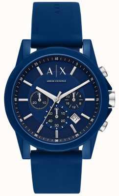 Armani Exchange Mens sport watch gift set | pulseira de silicone azul | AX7107