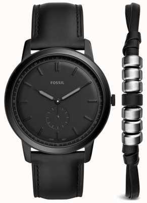 Fossil Mens minimalista assistir dom conjunto pulseira de couro preto FS5500SET