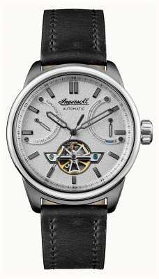 Ingersoll A pulseira de couro preto automático triunfo I06701
