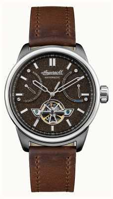 Ingersoll A pulseira de couro marrom automático triunfo I06703