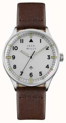 Jack Wills Mens camperdown prata mostrador pulseira de couro marrom JW001BRSS
