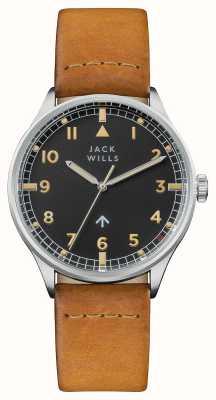 Jack Wills Mens camperdown pulseira de couro marrom preto mostrador JW001CASS
