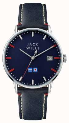 Jack Wills Mens batson blue dial pulseira de couro azul JW002BLSS