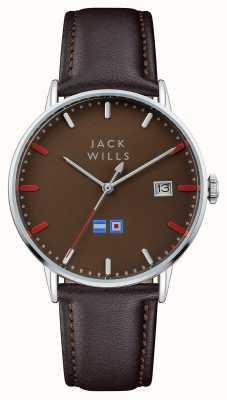 Jack Wills Mens batson brown dial pulseira de couro marrom JW002BRBR