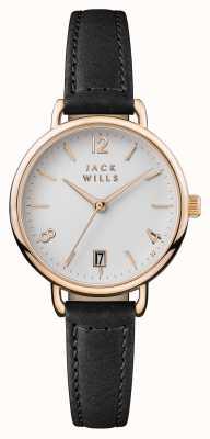 Jack Wills Womens onslow mostrador branco pulseira de couro preto JW006BKRS