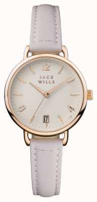 Jack Wills Womens onslow cream dial pulseira de couro rosa JW006PKRS
