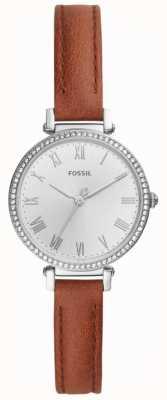 Fossil Mostrador branco de aço inoxidável de couro marrom feminino ES4446