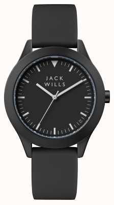 Jack Wills Mens união preto dial pulseira de silicone preta JW009BKBK