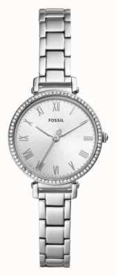 Fossil Mostrador branco pulseira de aço inoxidável das mulheres kinsey ES4448