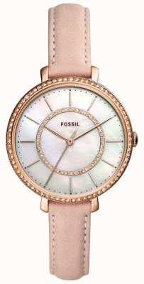 Fossil Womens pulseira de couro bege mãe de pérola de aço inoxidável ES4455