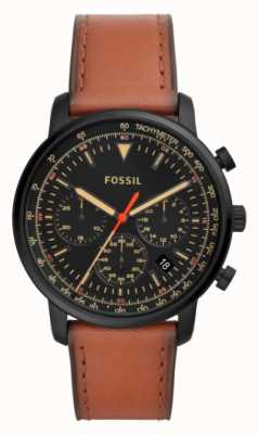 Fossil Mostrador preto de aço inoxidável de couro marrom do cronógrafo dos homens FS5501