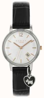 Radley Senhoras pequeno relógio prateado caso pulseira preta RY2717