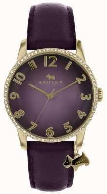 Radley Relógio roxo de senhora com estojo de ouro RY2726
